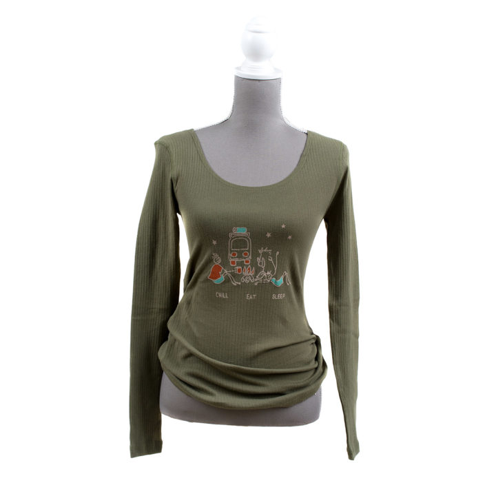Chill Eat Sleep Camping Kombi Jack Sophie and Winston Simply Slowveld Graphic Long Sleeve Womens White River Casterbridge South Africa